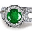 Diamond Ring with Ural Emeralds