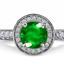 Finsh Diamond Ring with Zambian Emeralds
