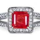 Ruby Rings Reviews - One large and two smaller emerald-cuts make a striking three-stone ring