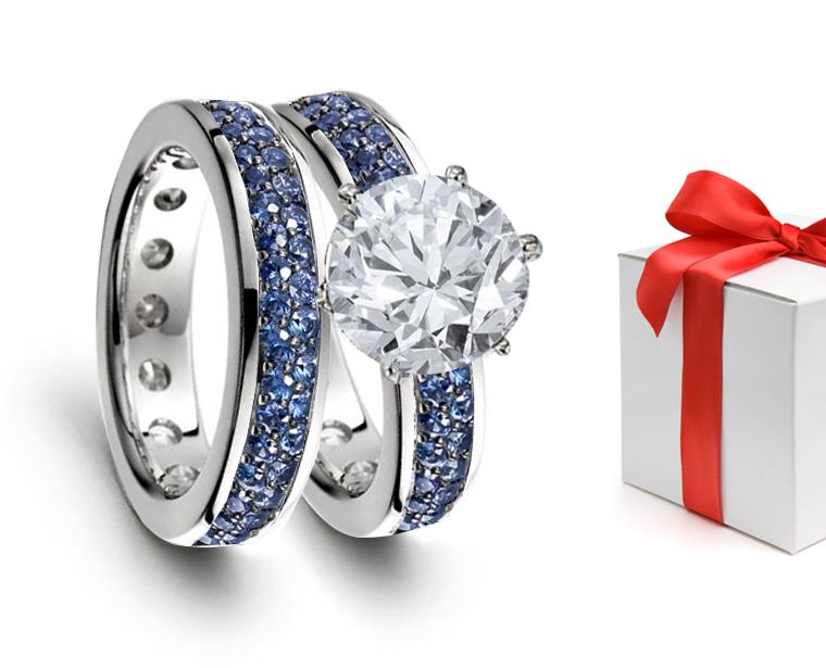 blue white diamond wedding band eternity rings - Kmart Wedding Ring Sets