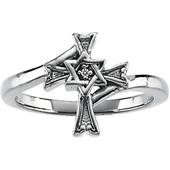 Gold Religious Cross Ring  featuring the Star of David in the center enhanced with a Round Diamond