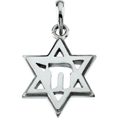 Star of David Pendant in White Gold with a Chai symbol in the center