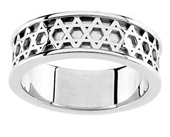 Star of David Anniversary Band in White Gold