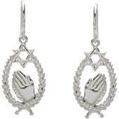 Star of David White Gold  Earrings featuring praying hands in an engraved frame