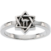 Star of David Religious ring with a Chai symbol in the center of the star