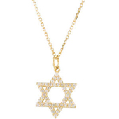 tar of David Yellow Gold Pendant studded with Round Diamonds