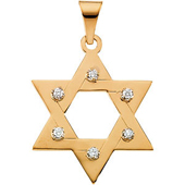 Star of David  Pendant enhanced with Round Diamonds