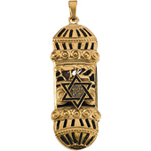 Yellow Gold Mezuzah Pendant with a Star of David featuring very fine openwork, enameling and Milgraining