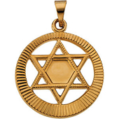 Star of David Circle Pendant in Yellow gold with Engravings