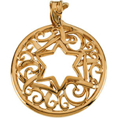 Star of Davind Yellow Gold Circle Pendant with very fine filigree work in the circle