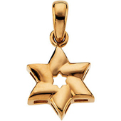 Star of David Yellow Gold Pendant