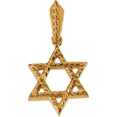 Star of David Yellow Gold Pendant in Rope Pattern