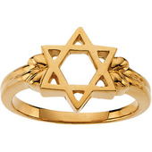 Star of David Yellow Gold Religious Ring