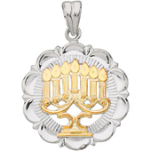 Menorah Pendant in Yellow Gold and Silver