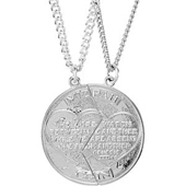 White Gold Miz Pah Coin Pendant with Engravings