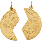 Yellow Gold Miz Pah Coin Pendant with Engravings