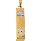 Two Tone Gold Mezuzah Pendant featuring Chai and Star of David