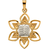 Yellow Gold Ten Commandments Pendant Featuring a beautiful Floral frame with Engravings