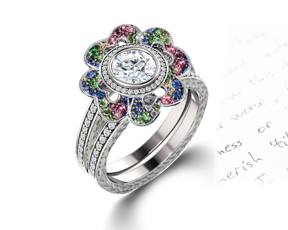 This is an image of DELICATE MICRO PAVE HALO ENGAGEMENT RINGS & WEDDING BANDS