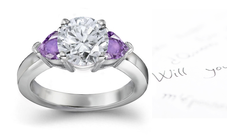 purple sapphire hearts and diamond round engagement rings With purple diamond wedding ring