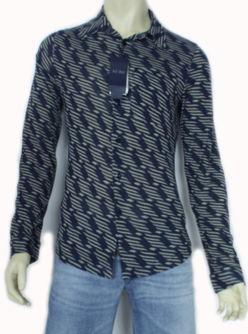 Stock #ME2008135: Armani Shirt. Army green and very dark blue color.