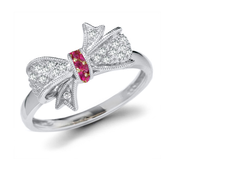 Georgian Micropave Diamond Ribbon & Ruby Bow Gold Gold Ring