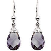 Real Amethyst 14k White Gold Earrings