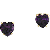 Real Amethyst 14k Yellow Gold Earrings