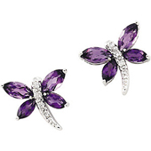 Real Amethyst and Diamonds 14k White Gold Dragonfly Earrings