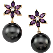 Real Amethyst and Tahitian Pearl 14k Yellow Gold Flower Earrings