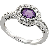 Real Amethyst and Diamonds 14k White Gold Ring