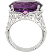 Real Amethyst 14k White Gold Ring