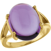 Real Cabochon Amethyst 14k Yellow Gold Ring