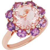 Real Amethyst, Morganite and Diamonds 14k Rose Gold Ring