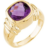 Real Amethyst 14k Yellow Gold Ring