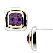 Real Amethyst Two tone 14k Gold Earrings
