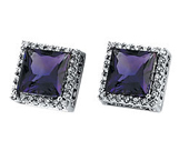 Real Amethyst and Diamonds 14k White Gold Earrings