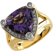 Real Amethyst and Diamonds 14k Yellow and White Gold Ring