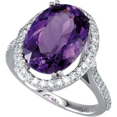 Natural Amethyst and Diamonds 14k White Gold Ring
