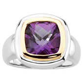 Natural Amethyst Two Tone Gold Ring