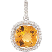Real Golden Citrine and Diamonds 14K White Gold Pendant