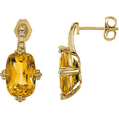 Real Golden Citrine and Diamonds 14K Yellow Gold Earrings