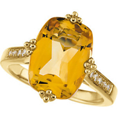 Real Golden Citrine and Diamonds 14K Yellow Gold Ring