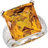 Real Golden Citrine Sterling Silver Ring