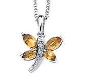 Real Golden Citrines and Diamonds 14K White Gold Dragonfly Pendant