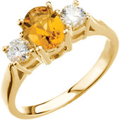 Real Golden Citrine and Diamonds 14K Yellow Gold Threestone Ring