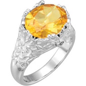 Real Golden Citrine and Diamonds 14K White Gold Ring