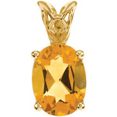 Real Golden Citrine 14K Yellow Gold Pendant