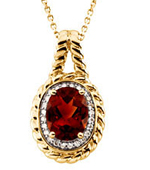 Real Madeira Citrine and Diamonds 14K Yellow Gold Pendant