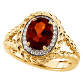 Real Madeira Citrine and Diamonds 14K Yellow Gold Ring
